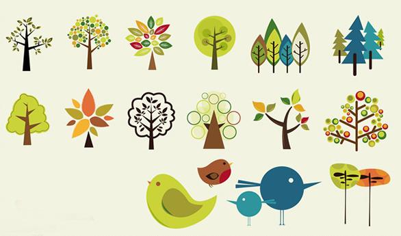 [일러스트] 나무, 새 아이콘그림 일러스트파일, 나무, 새 일러스트