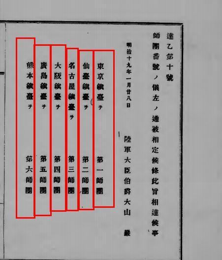 일본이 근대에 최초로 만든 6개 사단은...?