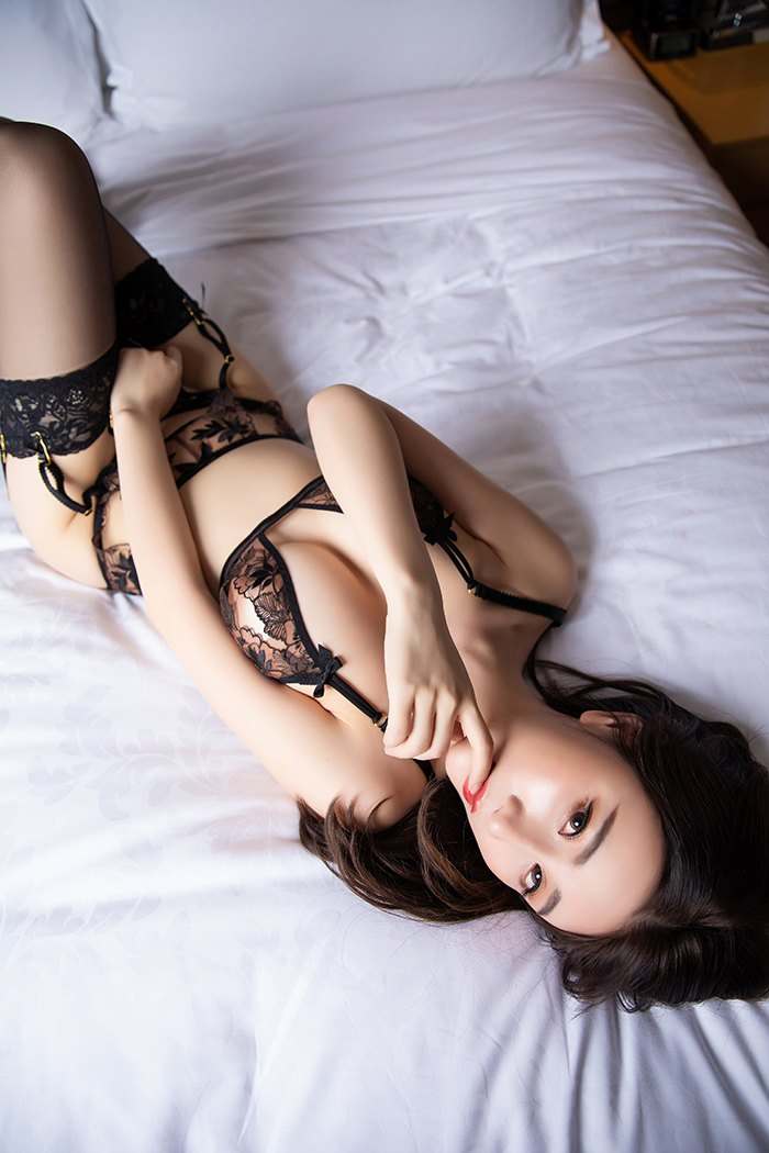 cool Chinese women in black lingerie